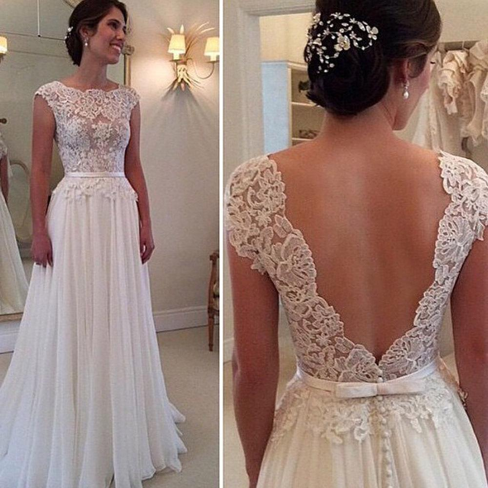 Discount lace wedding dresses bohemian backless 2015 white discount lace wedding dresses bohemian backless 2015 white scalloped sheer see through a line vintage bridal dress tulle sexy beading wedding dress simple ombrellifo Images