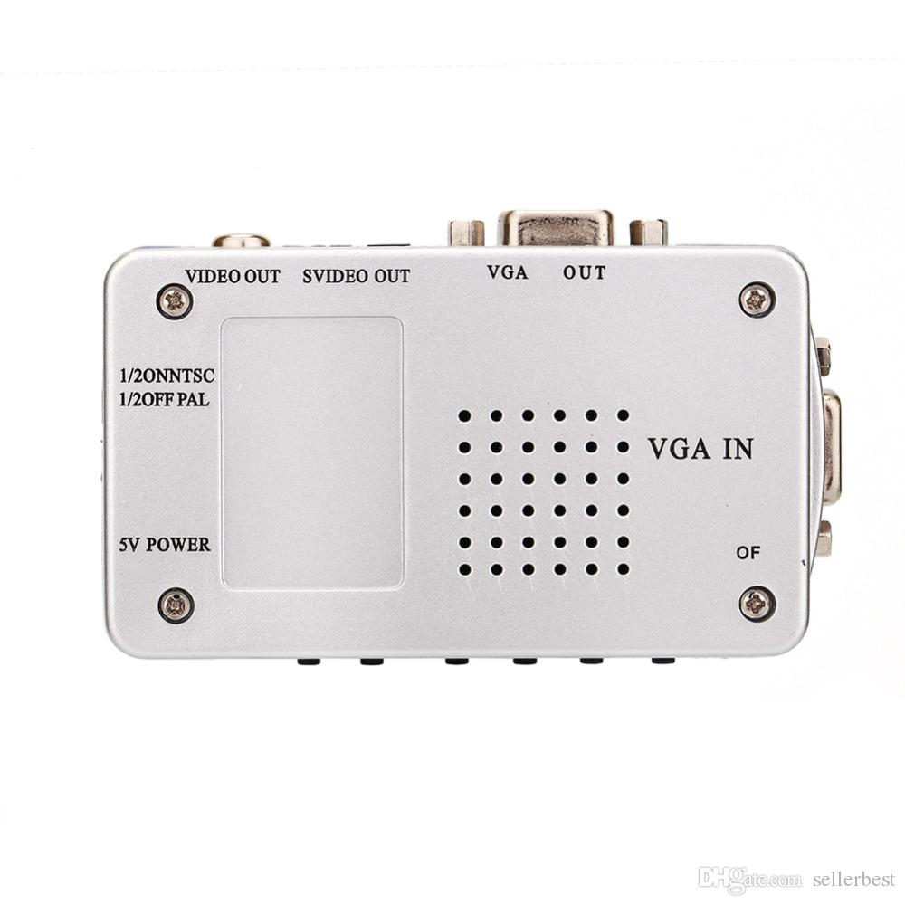 VBESTLIFE PC Converter Box VGA to TV AV RCA Signal Adapter Converter Video Switch Box Composite Supports NTSC PAL for Computer