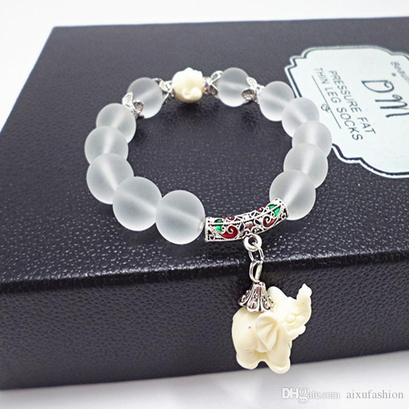 High Quality Fashion Natural Frosted Crystal Bracelet Little Elephant Pendant 12mm Stone Beaded Bracelets Women Bangle Jewelry
