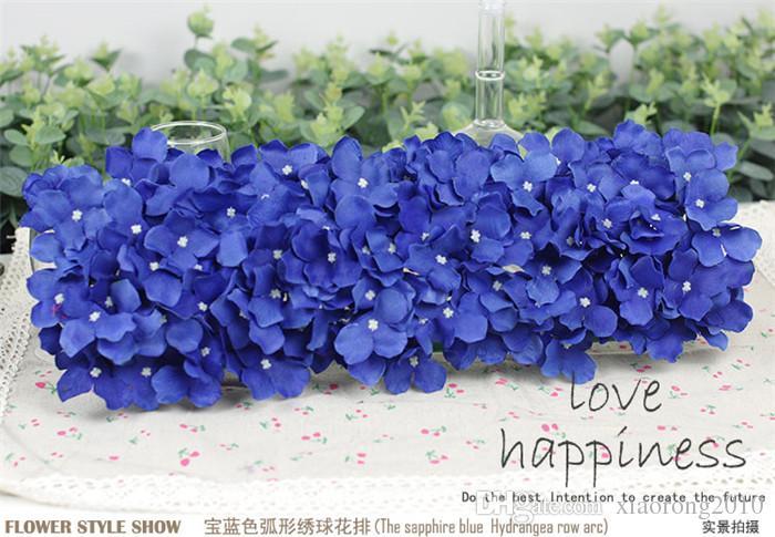 Artificial Hydragea Flower with Plastics Square Shape Base Fake Floral Arrangements for Wedding Party Registration Background Decorations