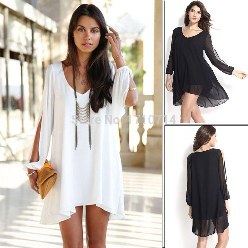 Online Cheap Hot Sale Plus Size Casual Dress Batwing White Black V