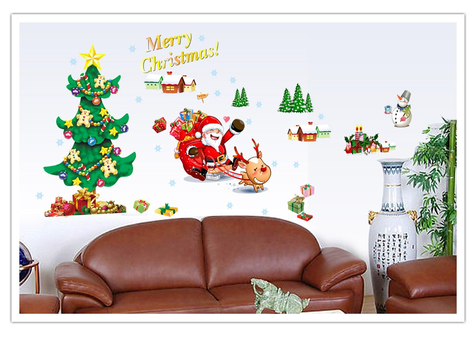 Merry Christmas Quote Wall Art Decal: Hot Sale Merry Christmas Xmas Tree Santa Claus Snowman