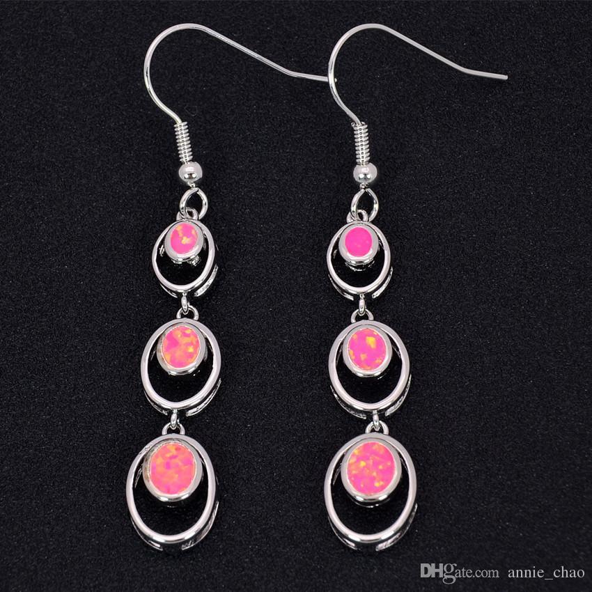 Großhandelseinzelhandel-Art- und Weiseblau / Weiß / Rosa / rote feine Feuer-Opal-Ohrringe 925 versilbern Schmucksachen für Frauen EJL16030801