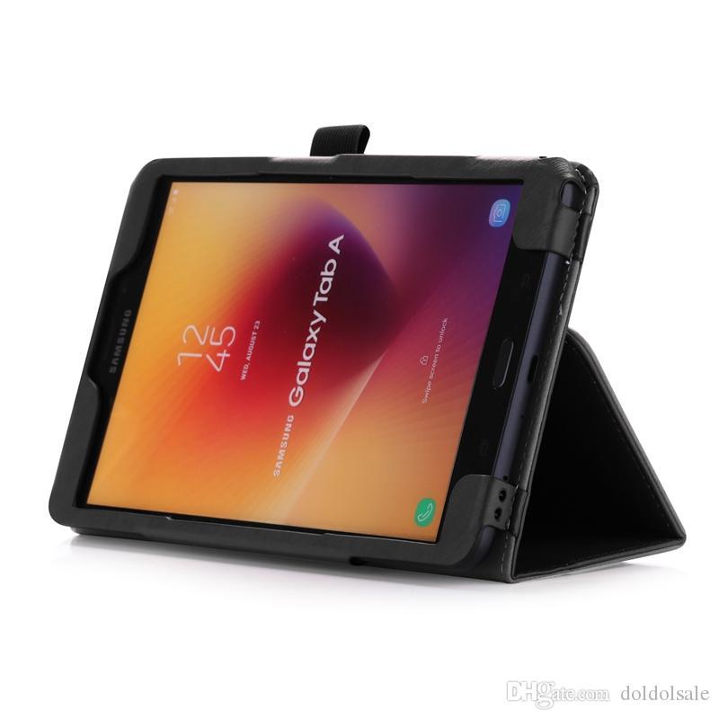Luxus pu leder case abdeckung für samsung galaxy tab a 8.0 T380 T385 2017 Tablet mit Kartensteckplätze Handschlaufe 30 stücke