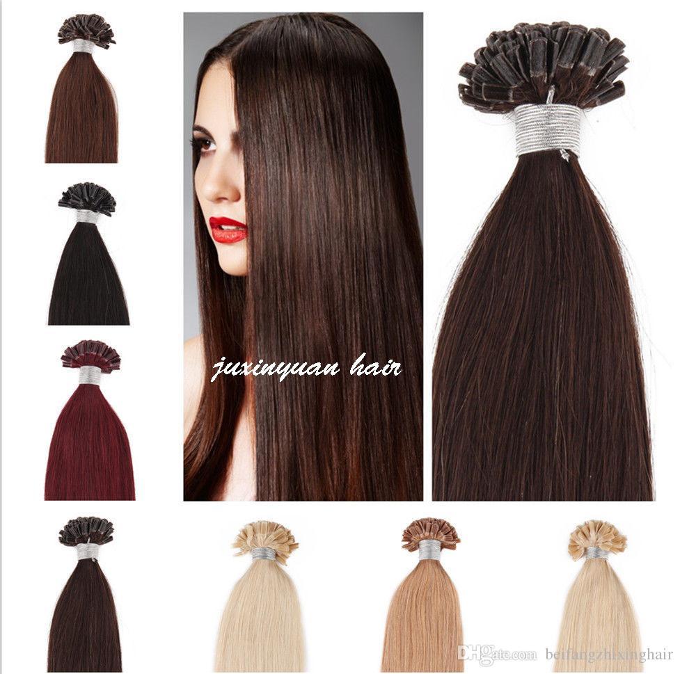 7a 14 24nail U Tip Hair Extension Virgin Indian Hair 07gs 200s1