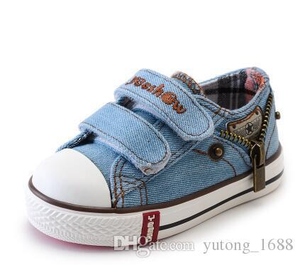 2244c733 Compre Tipos Nuevo Tamaño Llegado 21 37 Niños Zapatos Niños Lienzo  Zapatillas Niños Jeans Pisos Chicas Botas Denim Zapatos De Cremallera  Lateral A $10.83 ...