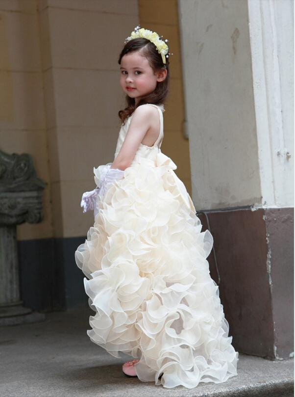 Darmowa Wysyłka Empire V-Neck Wasit / Koraliki / Kryształy Ruched Organza Urodziny Pagew Wedding Hi-Lo Flower Girls '