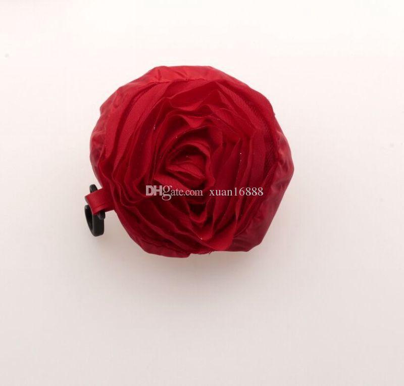 Горячей ! 5 шт Красный цвет Pretty Rose Складная Eco многоразовая хозяйственная сумка 39.5cm x38cm 430
