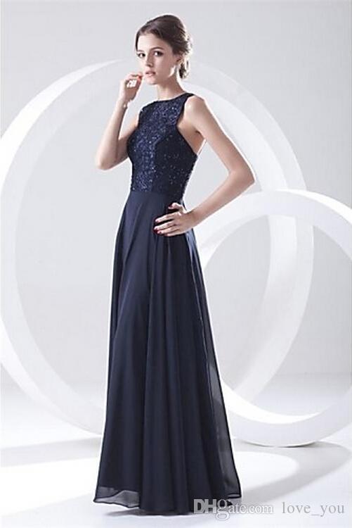 Novo vestido de noite formal marinho escuro plus tamanhos petite uma linha jóia chifre chiffon rendas e beading vestido de dama de honra