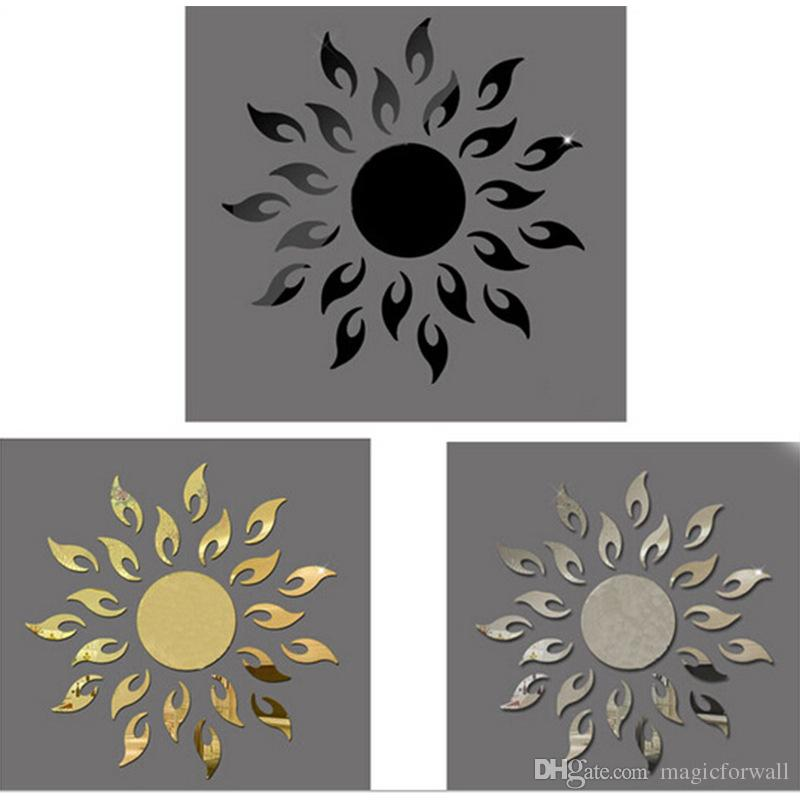 3d art sun mirror decal sticker plastic sunflower mural home decoration sunshine spark fire round mirror wall sticker for home decoration wedding novelty