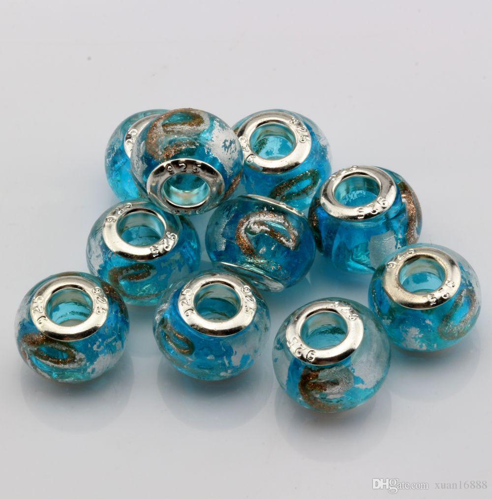"MIC Sky Blue Gold Silver Foil Alphabet ""e"" lampwork Glass Large Hole Beads Fit Beaded Bracelet"