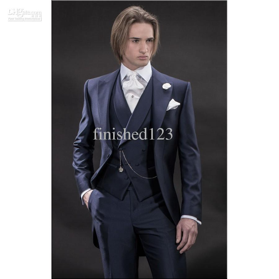 New Design Morning style Navy Blue Groom Tuxedos Groomsmen Men's Wedding Suits Best man Suits Jacket+Pants+Vest+Tie BM:921