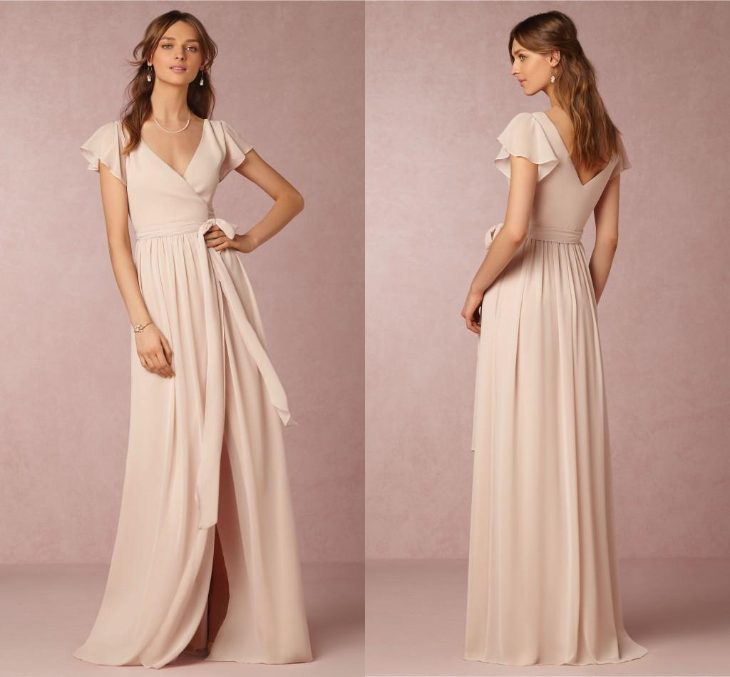 758a46ab932a 2019 Bridesmaid Dresses Cheap A Line V Neck Short Sleeve Split Chiffon Nude  Pink Maid Honor Special Occasion Dresses For Wedding Stunning Bridesmaid  Dresses ...