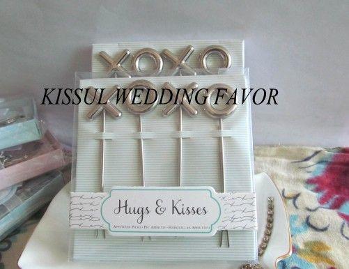 ==30boxes Wedding party favors-XOXO Stainless Steel Appetizer Picks and Fruit Picks Birthday cake Picks Bridal Shower