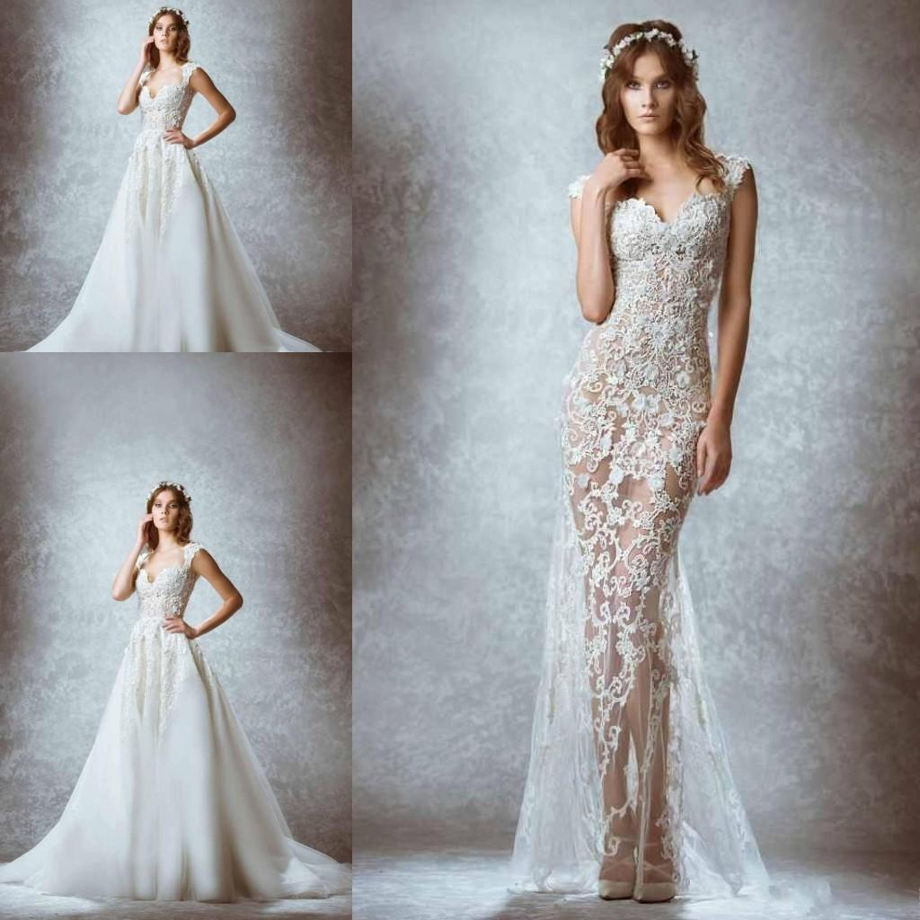 Discount Zuhair Murad Wedding Dresses With Detachable Over Skirt ...
