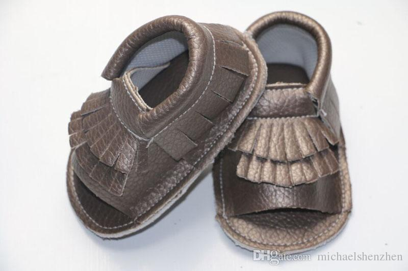 EMS 12 Couleur Nouveau cuir de vachette Chaussons mocassions à bout ouvert pour bébés Chaussons pour bébés Bottillons pour bébés