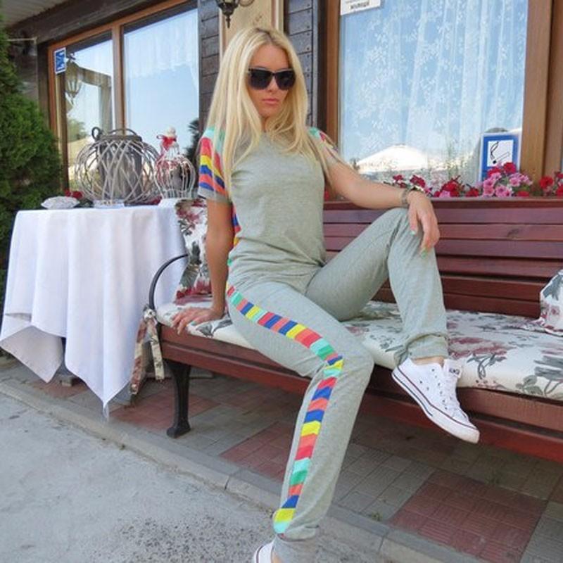 Spring New 2015 Fashion Womens Rainbow Sweatshirts Tracksuits Set Hoodies+Pants Casual Jogging Sport Suits Plus Size FG1511