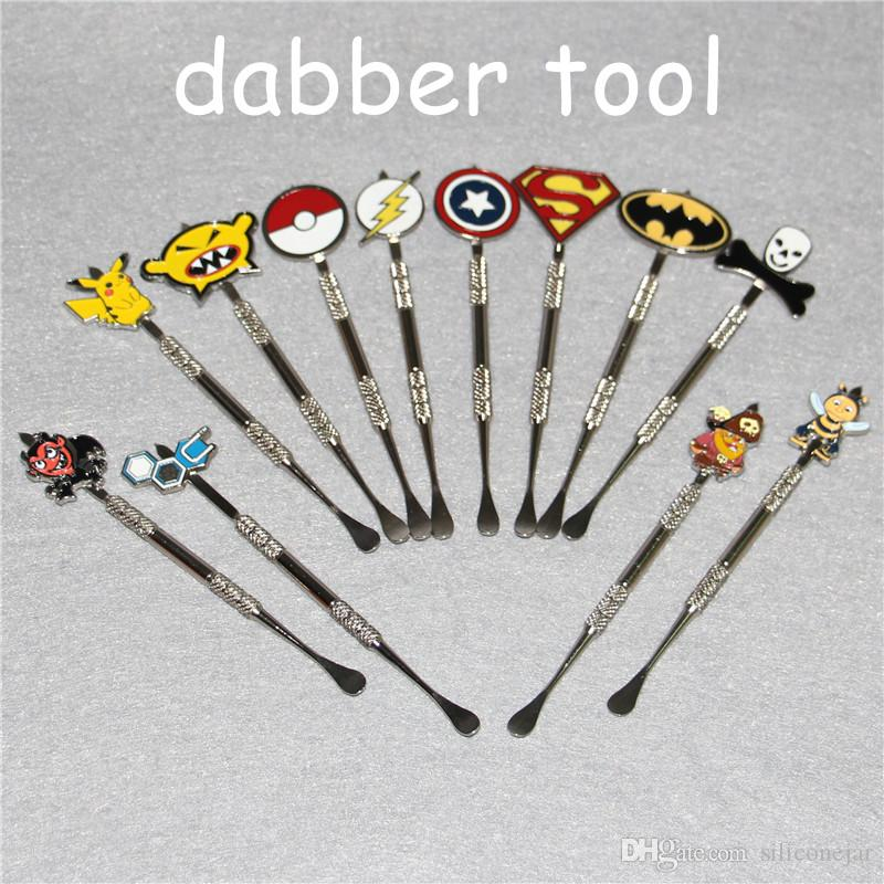 Wax Dabber tool with fashion deign stickers Pokeball,Batman,Captain,superhero,Flash and Skull wax Dab tool 120mm Jars Tool