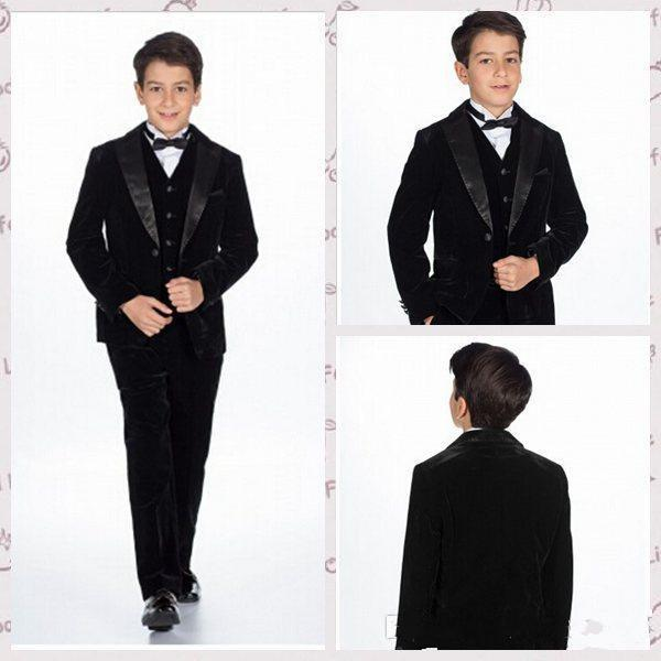 Shawl Lapel Boy's Formal Wear 2015 Three-Piece Boys Tuxedo Suits For Wedding Party Business Boys Suits Jacket+Pants+Vest+Bow Tie