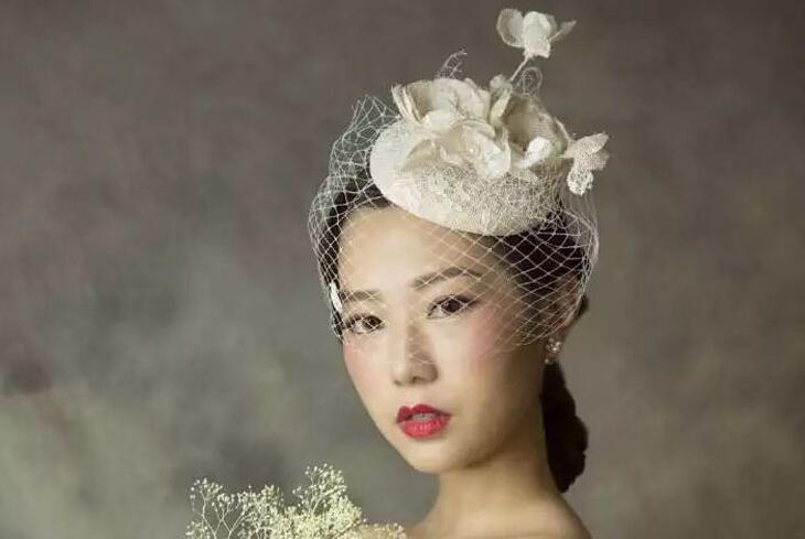 Bride Veil Comb Blusher Birdcage Tulle Ivory Champagne Flowers Feather Bridal Wedding Hots Hat Dress