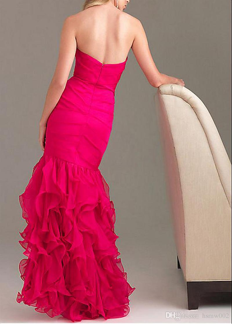 Sexy Sweetheart Mermaid Prom Dresses 2017 Sparkly Crystal Side Split Ruffles Sweep Train Evening Gowns Pageant Party Dress Formal