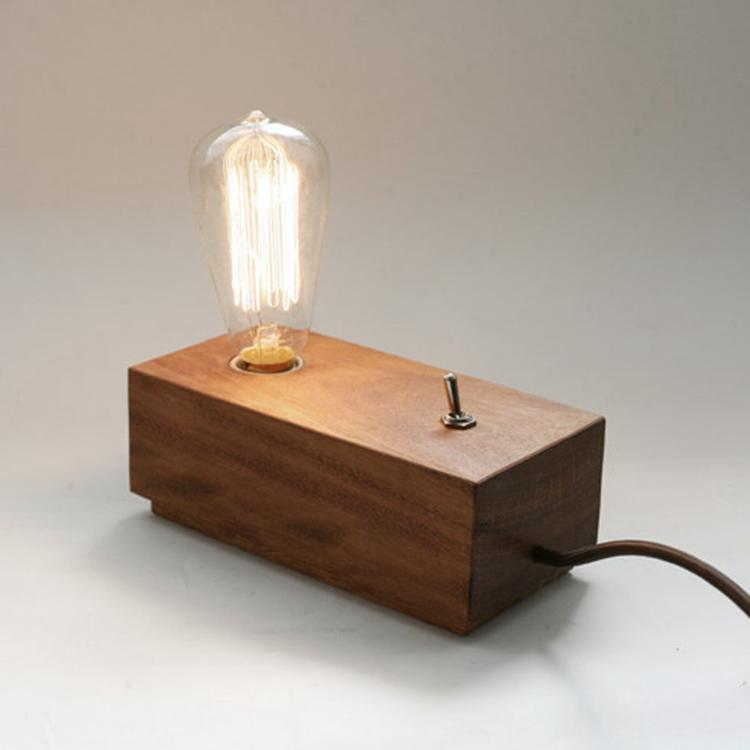 2019 Vintage Edison Wooden Lamp Base Old Fashion With T64 Light Bulb