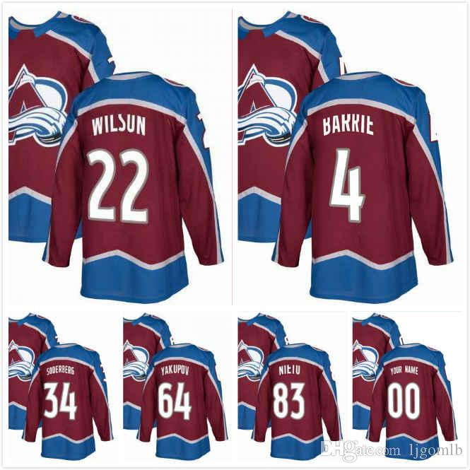 brand new e1c93 9e1dc Colin Wilson Jersey 22 Tyson Barrie 4 Carl Soderberg 34 Nail Yakupov 64  Matt Nieto 83 Mens Ice Hockey Jerseys 2018AD Colorado Avalanche S-3X