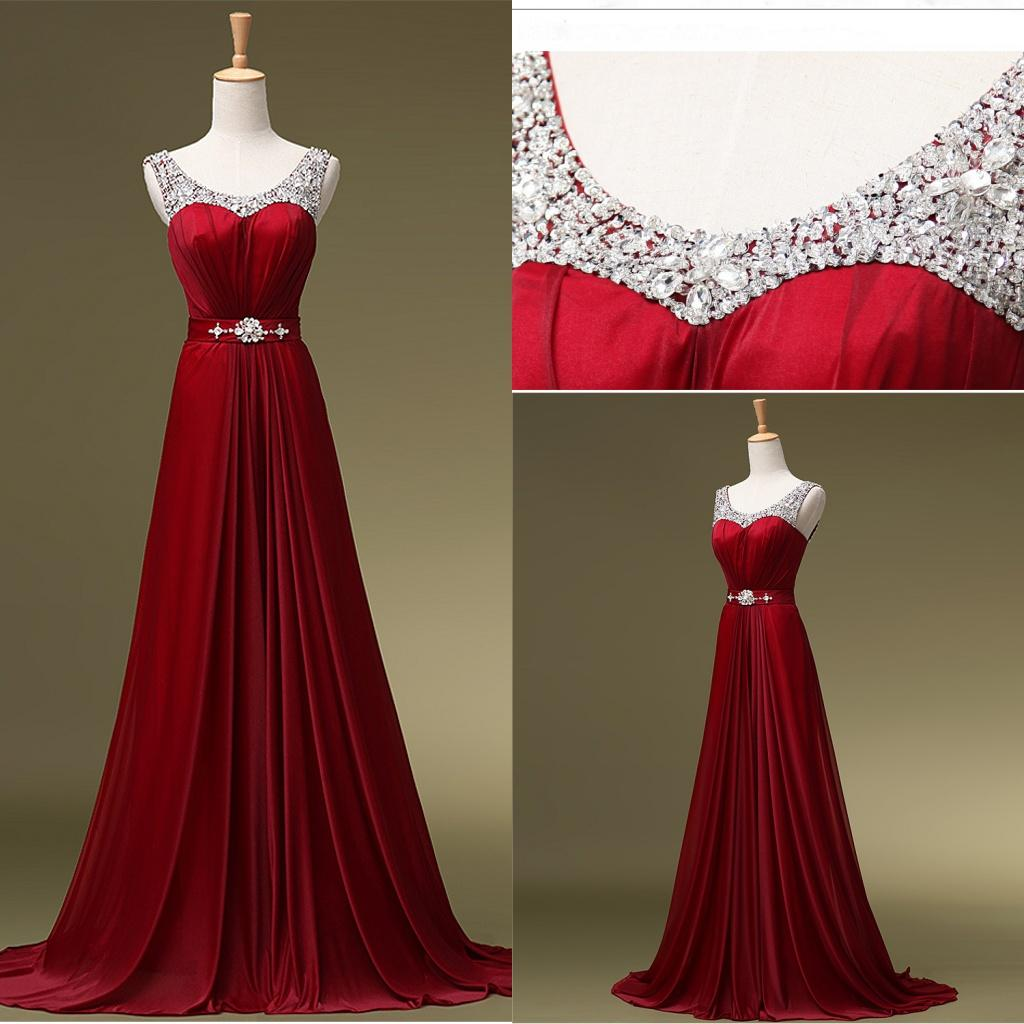 Cheap Under 100 2015 Burgundy Evening Dresses Sexy V Neck