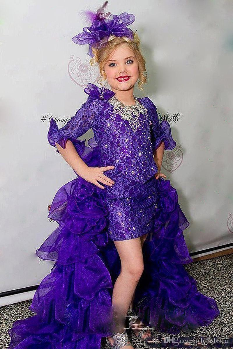 Gorgeous Purple Lace Beaded Girl Pageant Dresses HIgh Low Flower Girl Dresses Half Sleeves With Flouncing Ruffles Organza Sweep Train