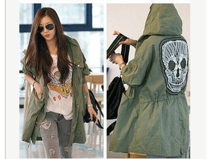 Top New Lady Womens Military Parka Button Trench Skull Back Hooded  PV15