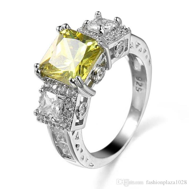 1 LuckyShine Bright Square Peridot Crystal Cubic Zirconia 925 Sterling Silver Crown Rings Sets Women Christmas Holiday Gift