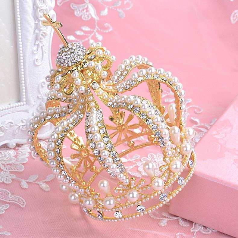 2016 Gold Wedding Crown Cheap Modest Bridal Tiaras Beads Rhinestone Crystal Sexy Hair Accessories Hot Sale Fashion Free