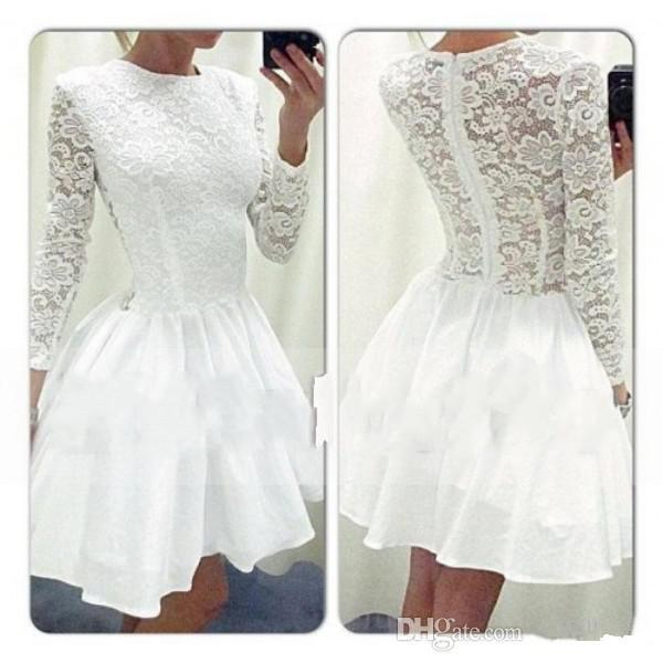 Free Shipping White Lace Homecoming Dresses Long Sleeve Crew Neck Zip Back A-Line Taffeta Short Mini Prom Dresses Custom Made H34