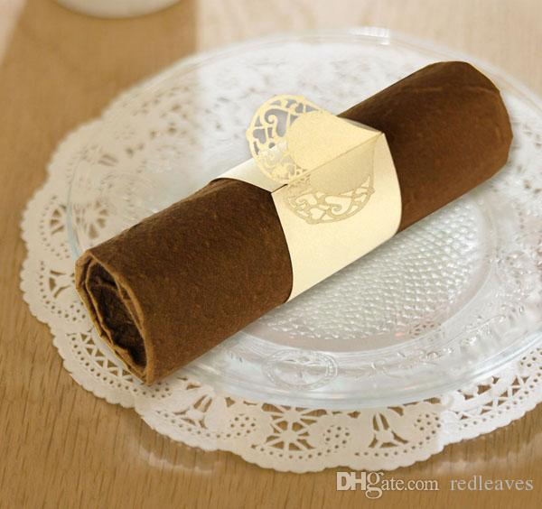 Pearl Paper Home Decor Stock Product India Napkin Rings: Paper Cutting Gold Pearl Napkin Rings Heart Shape Design
