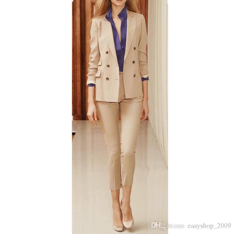 Zweireiher Frauen Damen nach Maß Büro Business Smoking Suits 2 Stück Jacke + Hose auf Bestellung gefertigt