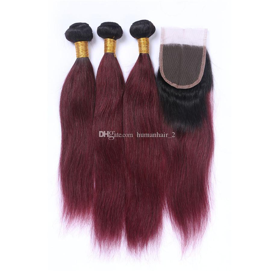 Burgundy Ombre Hair With Closure 1B 99j Dark Root Ombre Two Tone Virgin Straight Human Hair Bundles With Lace Closure