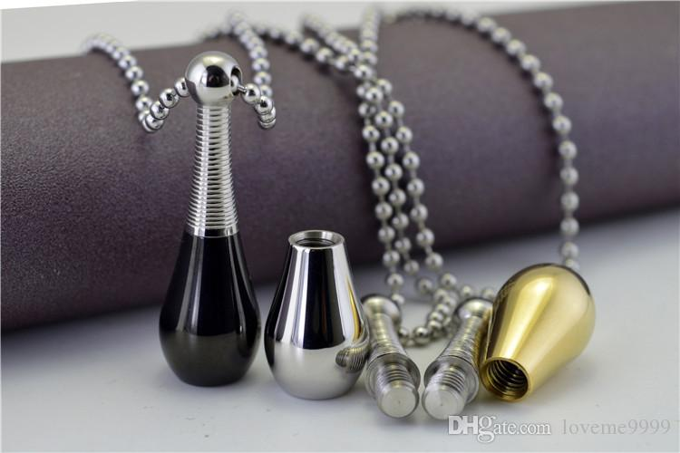 High quality Love openable 316L Stainless Steel Cremation perfume bottle Memorial Ash Urns Lockets Pendant Necklace Urns Jewelry sweater cha