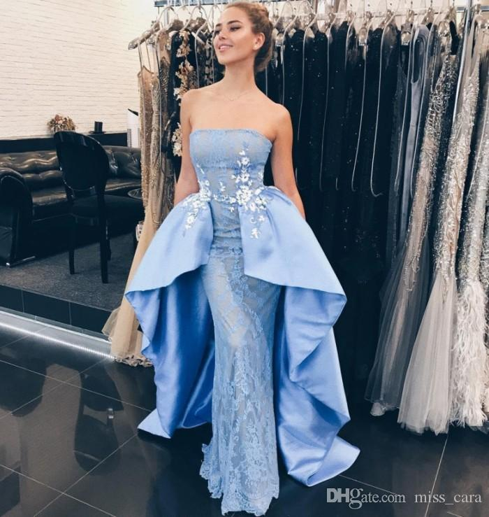 Fashionable Strapless Blue Prom Dresse Evening Wear Sheath Lace Overskirt  Appliques Long Dubai Formal Party Dresses Cheap Women Gowns Fiesta Exotic  Prom ... 6163b570c03f