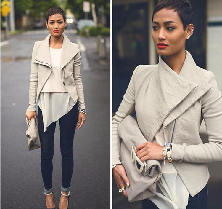 e60da4dbd Basic Jackets 2016 Fashion Long Sleeve Leather Jacket Turn-Down ...