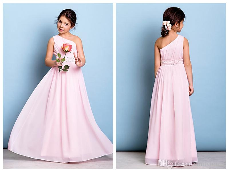 Chiffon Flower Girl Dresses Junior Bridesmaid Dress Floor Length A ...