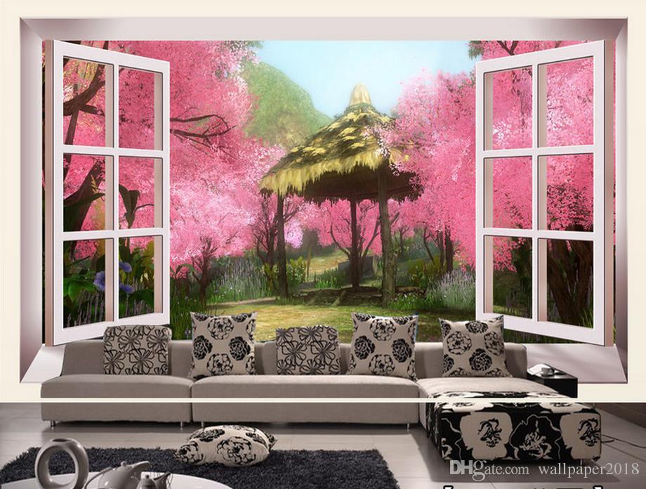 vid pared de ladrillo de TV 3D telón de fondo del mural del papel pintado 3D papeles de la pared de la flor 3D de melocotón romano para TV telón de fondo