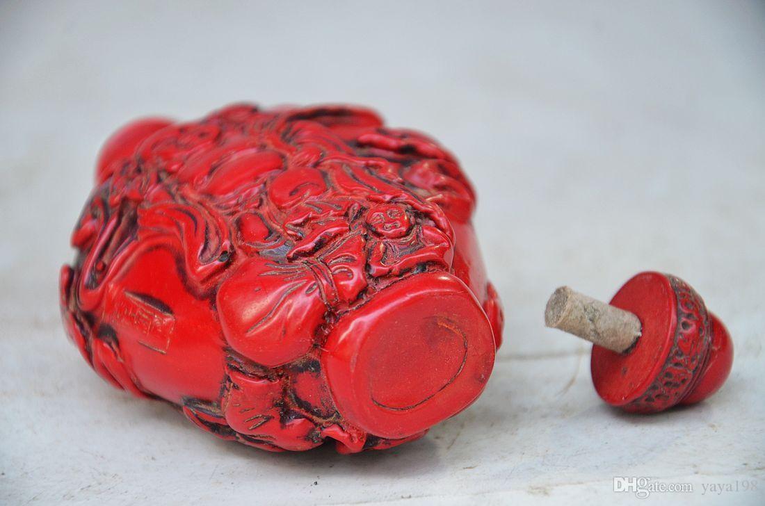 رائعة الصينية المرجان الأحمر منحوتة MAITREYA BUDDHA SNUFF BOTTLE