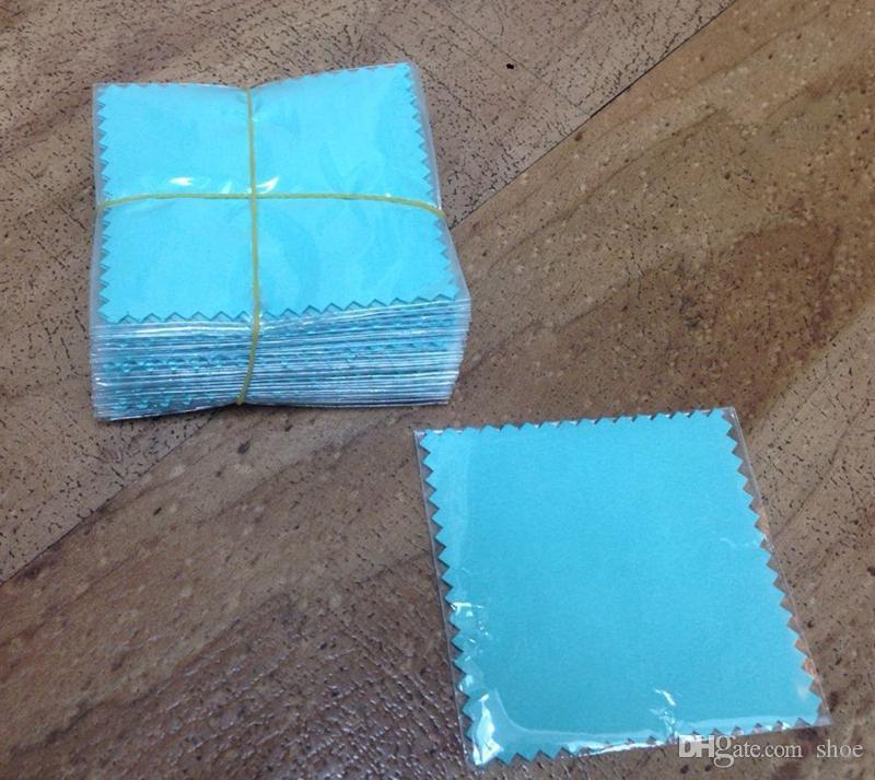 EPACK LIBERO 50 pz TF BLU 8 * 8 cm Argento Polacco con sacchetti di opp Panno argento dorato gioielli Cleaner tessuto in microfibra scamosciato materiale