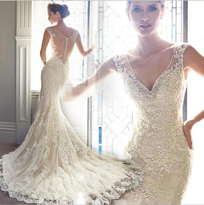 New 2017 Wedding Dresse Spring Mermaid Dresses Y Lace. Elegant Alencon Lace  Removable Keyhole Coverlet Bridal Wedding Gown Mermaid Tail 991d4be770d4