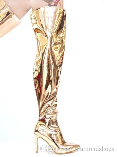 2017 Mais Novo Kim Kardashian Stilettos Prata Ouro Espelho de Couro Metálico Sobre O Joelho Mulheres Botas de Moda Coxa Botas Altas