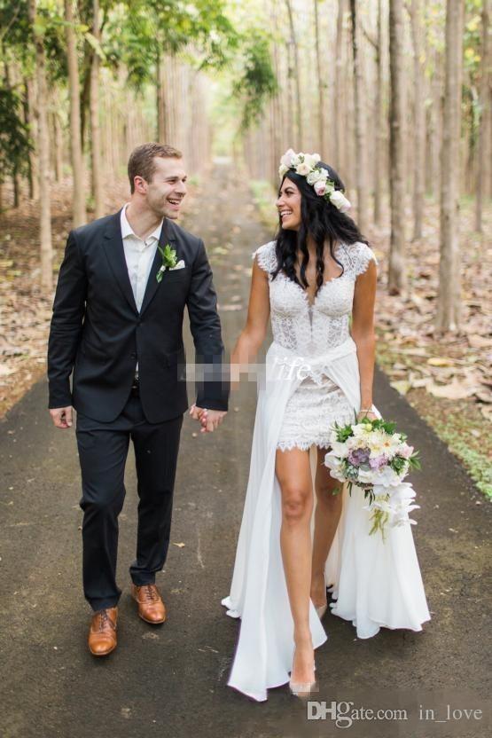 Discount 2018 Summer High Low Casual Beach Wedding Dresses