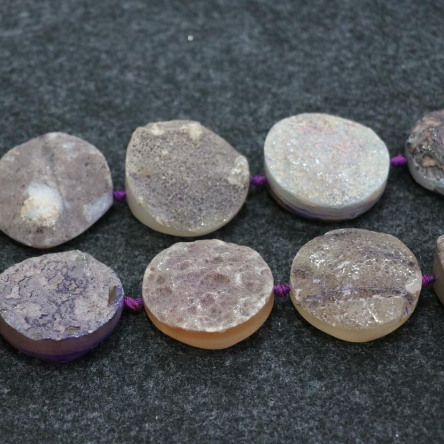 Druzy Purple Agate Gemstone Beads, Natural Slice Slab Drusy Crystal Quartz Face Necklace Pendant Connector Jewelry Make Wholesale Price