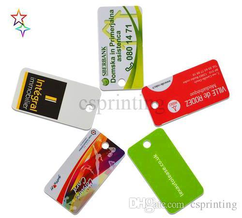 عرف البلاستيك PVC KeyTag الطباعة الأبيض PVC مفتاح علامات حفرة لكمات لخواتم المفاتيح