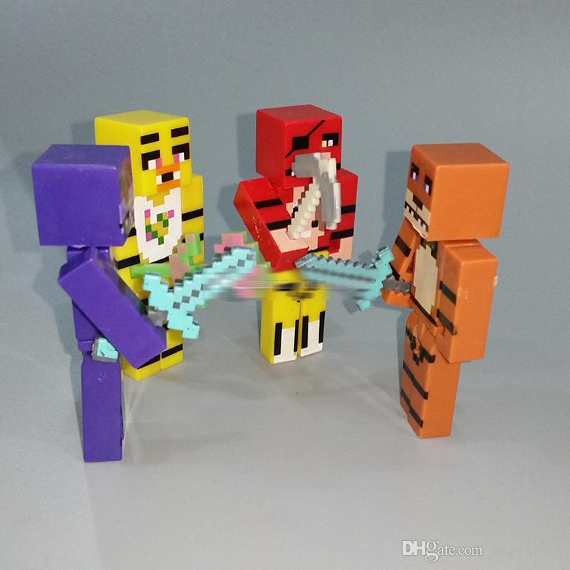 FNAF Cinco Noites Em Freddy's Buliding Blocos Figuras Brinquedo Urso Bonnie Freddy Freddy Blocks + Arma 4 pçs / set 2.8 polegada E664