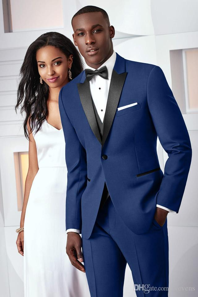 Custom Made Royal Blue Men Suits For Wedding Slim Fit Groomsmen Tuxedos Three Pieces Handsome Wedding Suit Jacket+Pants+Vest+Bow Tie